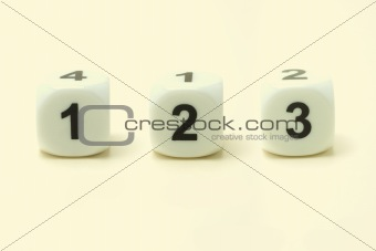 Three white dice