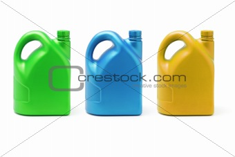 Three color containers of lubricant