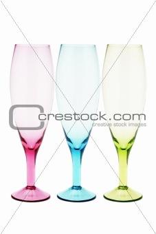 Three color wineglasses