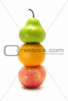 Apple, orange and pear