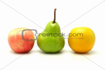 Apple, pear and orange