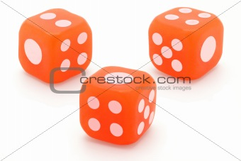 Three rubber dice