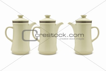 Three porcelain coffee pots