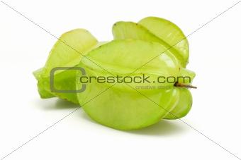Three green star fruits