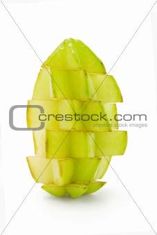 Sliced starfruit standing