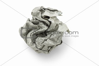 Crumpled newspaper ball