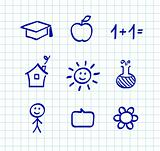 School doodle drawings and icons - isolated on white paper grid
