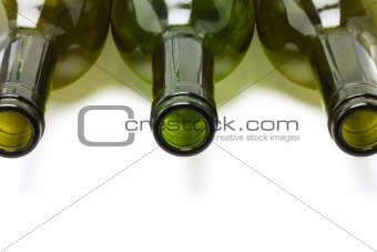 Close up of empty wine bottles