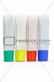 Four tubes of color paints
