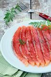 Salted salmon red fish sliced on a plate