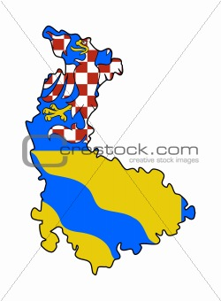 Olomouc state flag and map