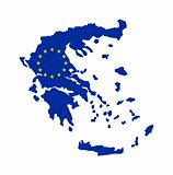 EU flag on map of Greece