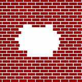 Hole in red brick wall background