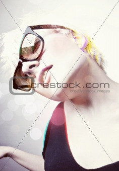 Young Glamorous Girl with Sunglasses