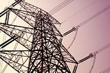 power transmission tower on sky