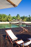 Pontoon, beach and resort