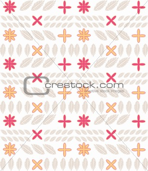 Abstract flower and leaves pattern background seamless