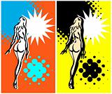 Art pop nude woman banner, grunge card, retro ad blank