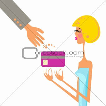 Business woman holding credit card in hand. Vector Illustration