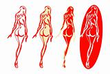 4 Back nude woman silhouette emblems or symbols