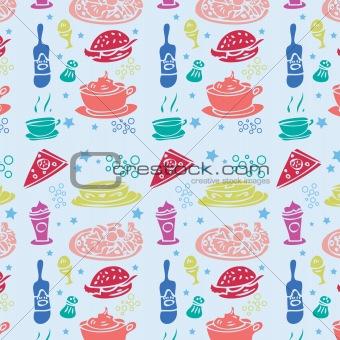 Food pattern fabric seamless