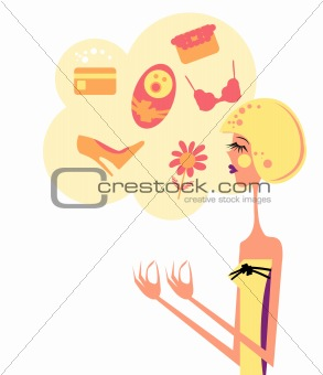 Cute woman thinking about showing something. Vector Illustration