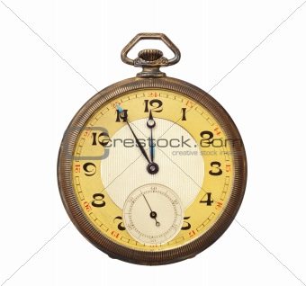 Old antique pocket watch isolated on white background. Clipping path included.
