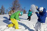 Playing snow fight 