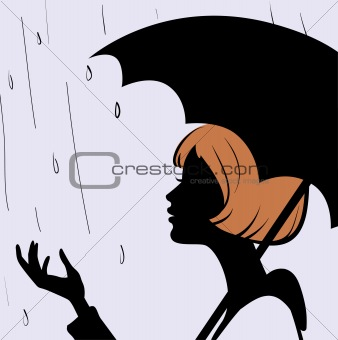 Beautiful young girl face silhouette with black umbrella on rain