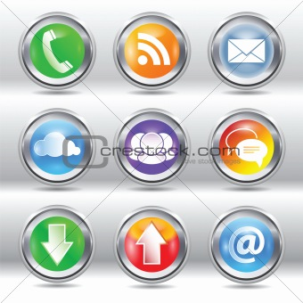 Metallic stylish modern communication icon and label set