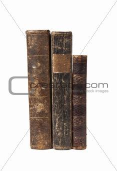 Three antique books isolated