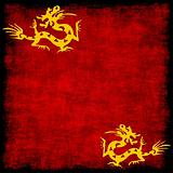 chinese golden dragon on grungy red