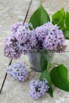 Bouquet of violet lilacs in a vase