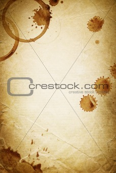 Classic vintage background. Old paper sheet with drops of coffee