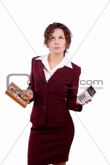 business woman holding abacus and calculator.