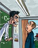 Cartoon of teacher screaming at a pupil
