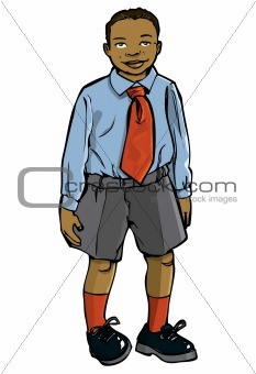 Cartoon boy in school uniform