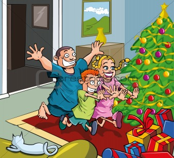 Cartoon kids running toward christmas tree