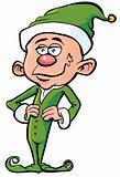 Cartoon santa's elf in green