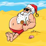 Cartoon santa on the beach