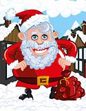 Cartoon Santa with a white beard