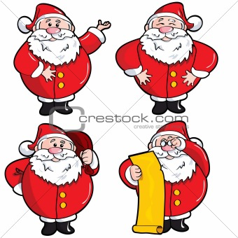 Set of Cartoon Santa