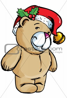Cartoon Bear with santa hat