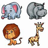 Set of cartoon wild animals