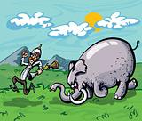 Cartoon of a hunter chased by an elephant