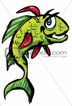 Smiling cartoon fish