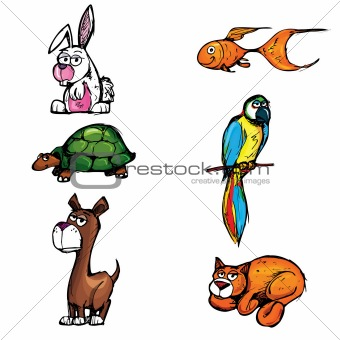 Set of cartoon pets