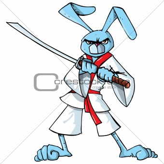 Cartoon samurai bunny