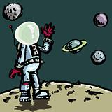 Cartoon astronaut in a space suit