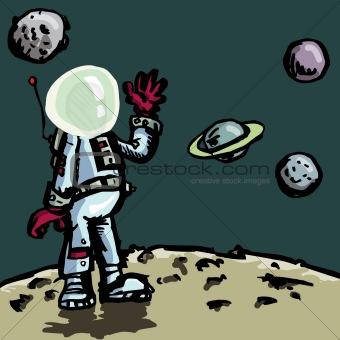Cartoon astronaut in a space suit